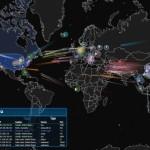 Un mapa con ataques hackers en tiempo real