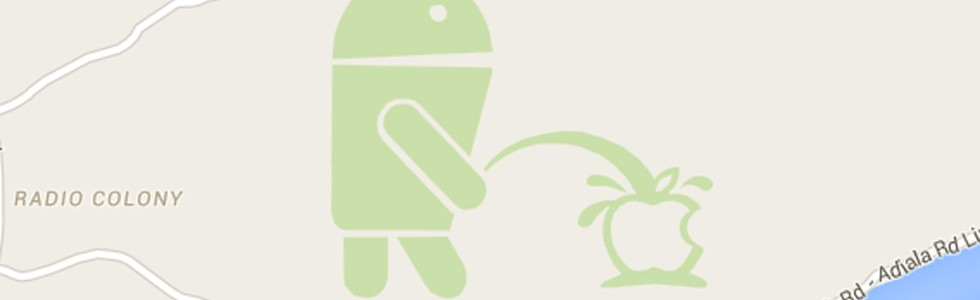 Android orina sobre la manzana de Apple en Google Maps
