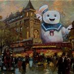 Artista añade elementos de cultura pop a cuadros que consigue en tiendas de segunda mano